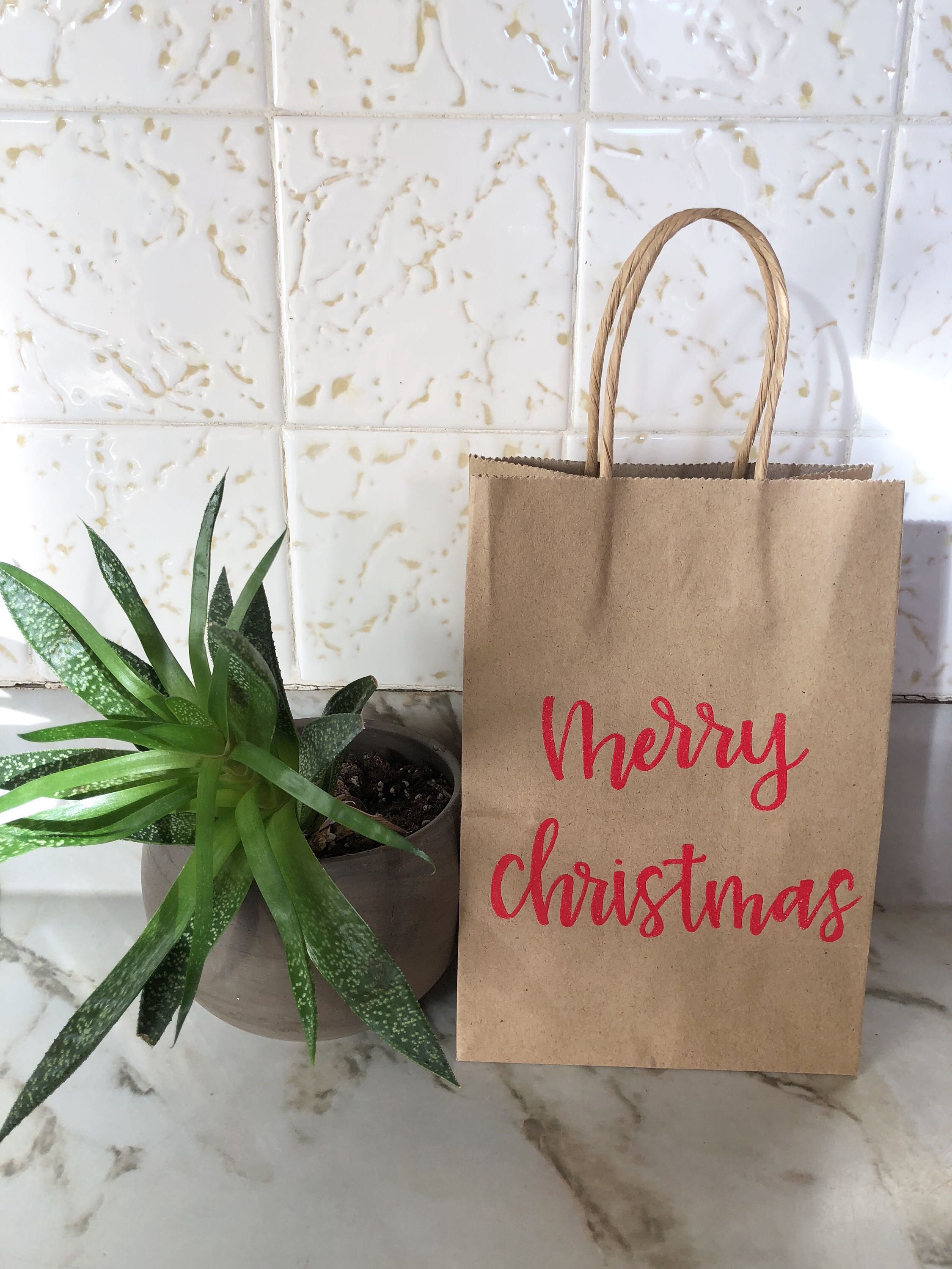 office christmas party favors. Merry Christmas Kraft Gift Bags, Party Favors, Holiday Office Favors