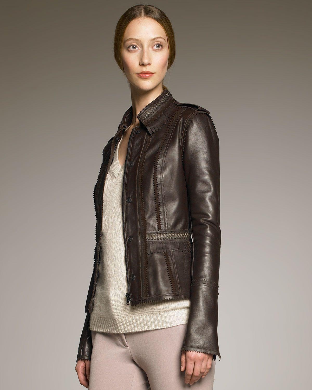 Burberry Prorsum Brown Fringe Trim Bonded Leather Jacket Leather Jacket Motorcycle Jacket Women Ladies Coat Design [ 1500 x 1200 Pixel ]