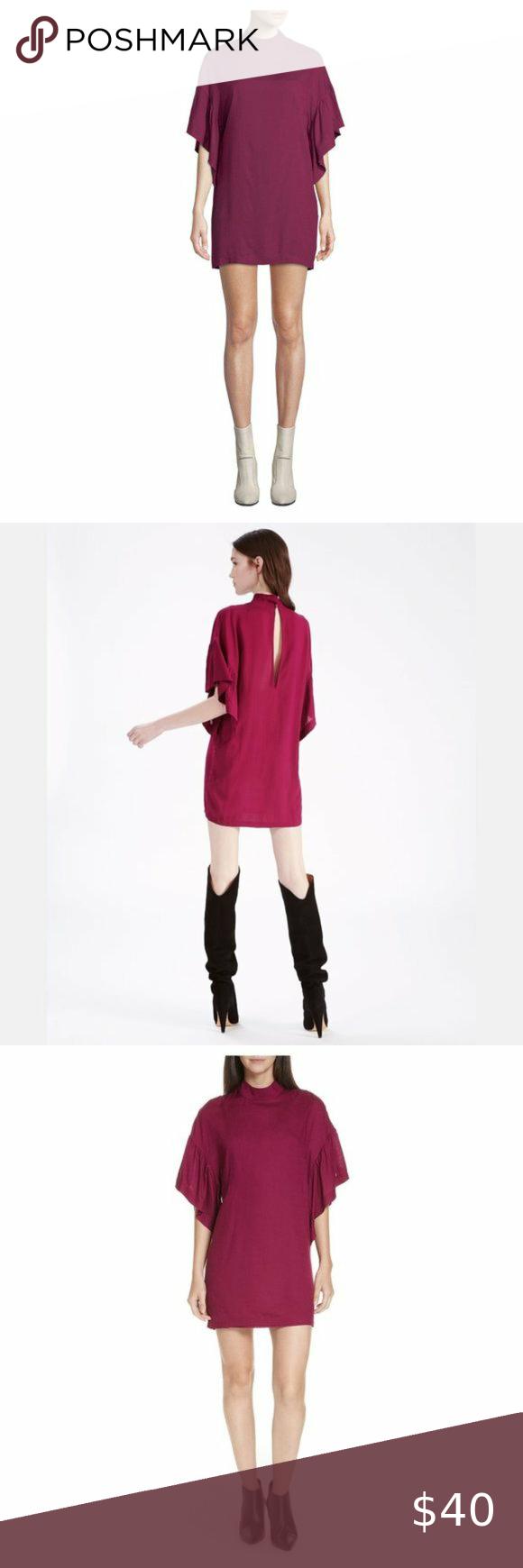 Iro Nwt Theifya Cape Sleeve Mock Neck Shift Dress Shift Dress Ruffle Sleeve Dress Dresses With Sleeves [ 1740 x 580 Pixel ]
