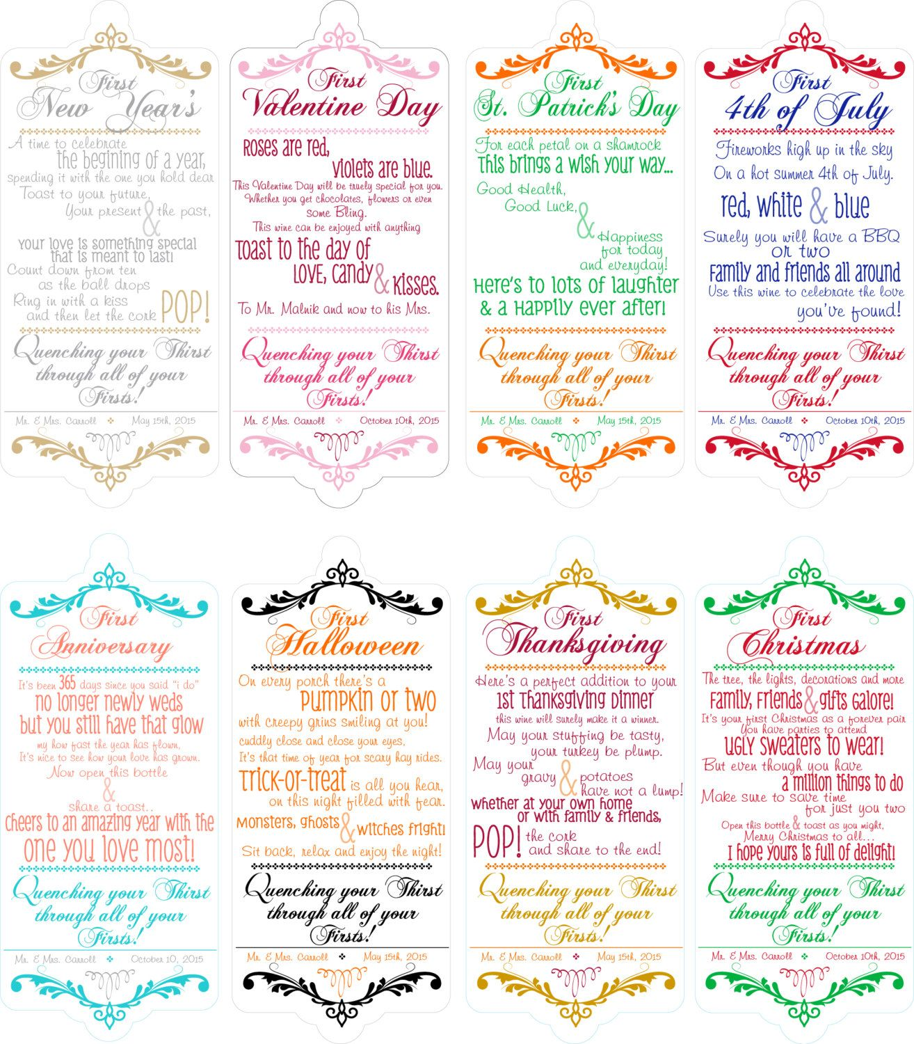 Halloween Wedding Gift Ideas: Bridal Shower Wine Poems For Wine Basket- 8 HOLIDAY THEMED