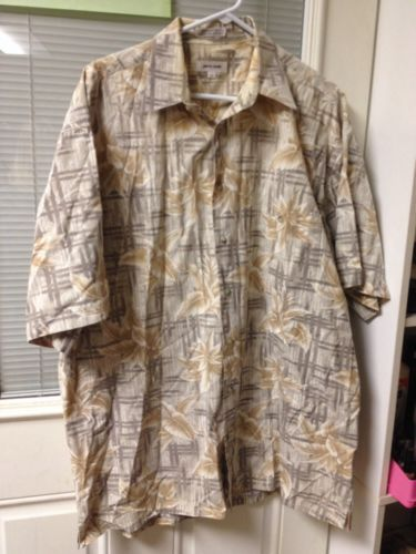 Size LT PIERRE CARDIN Tan Leaf Short Sleeve Button Down Mens Shirt Large Tall $2.99 recycle thrift ebay auction