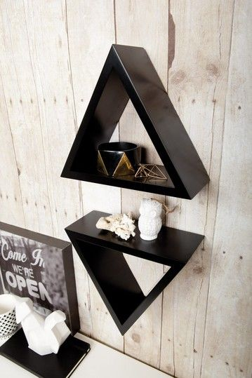 Functional Wall Decor By Nexxt Tri Triangle Shelf Black Set Of 2 Decor Home Decor Shelves