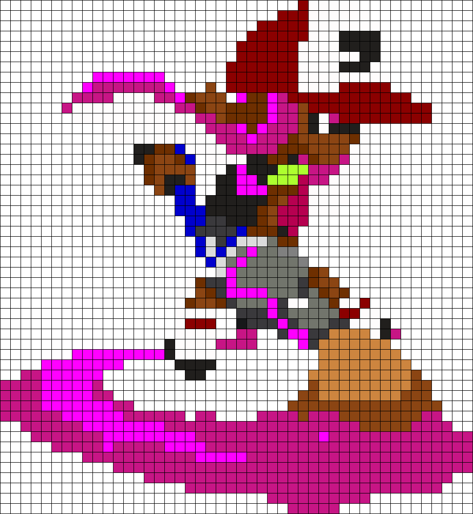 Magneta Inkling Girl From Splatoon Perler Bead Pattern