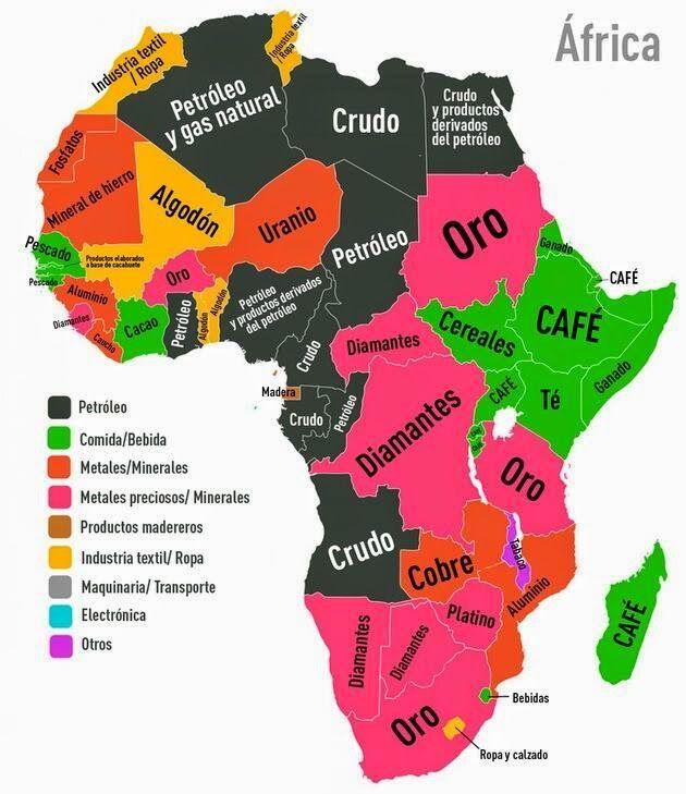 Mapa del continente africano, donde podemos observar el principal