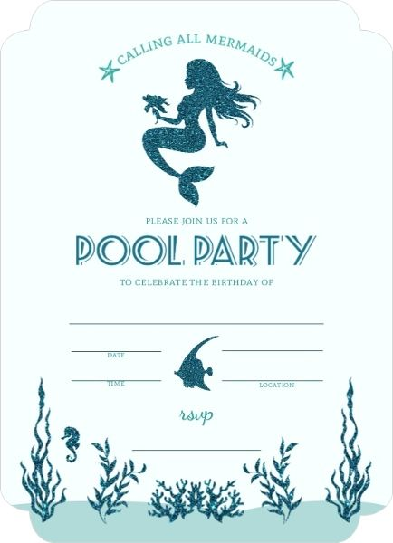 mermaid pool party fill in the blank invitation - Blank Party Invitations