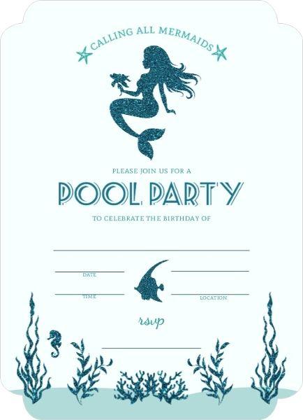 Mermaid Pool Party Fillintheblank Invitation – Blank Pool Party Invitations