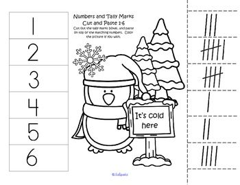 winter numbers 1 12 cut and paste match 10 frames tally marks free tpt free lessons cut. Black Bedroom Furniture Sets. Home Design Ideas