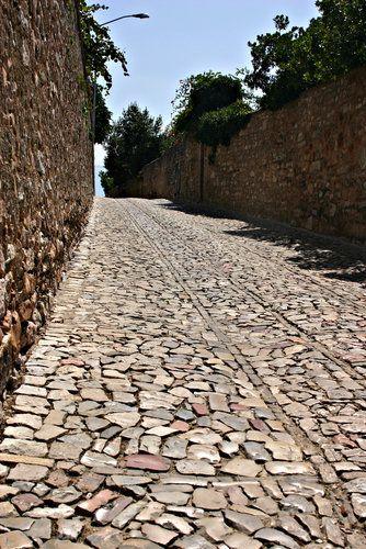 Stone road in Todi, Italy