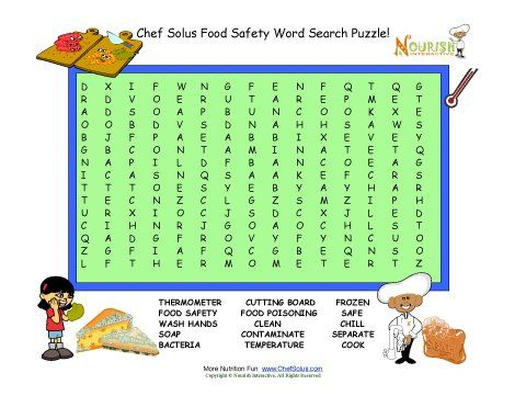 Food safety word search puzzle for children. This word search has ...