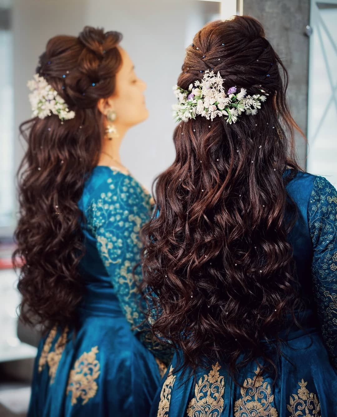 Curls With Dainty Floral Touch Long Hair Styles Hair Styles Engagement Hairstyles