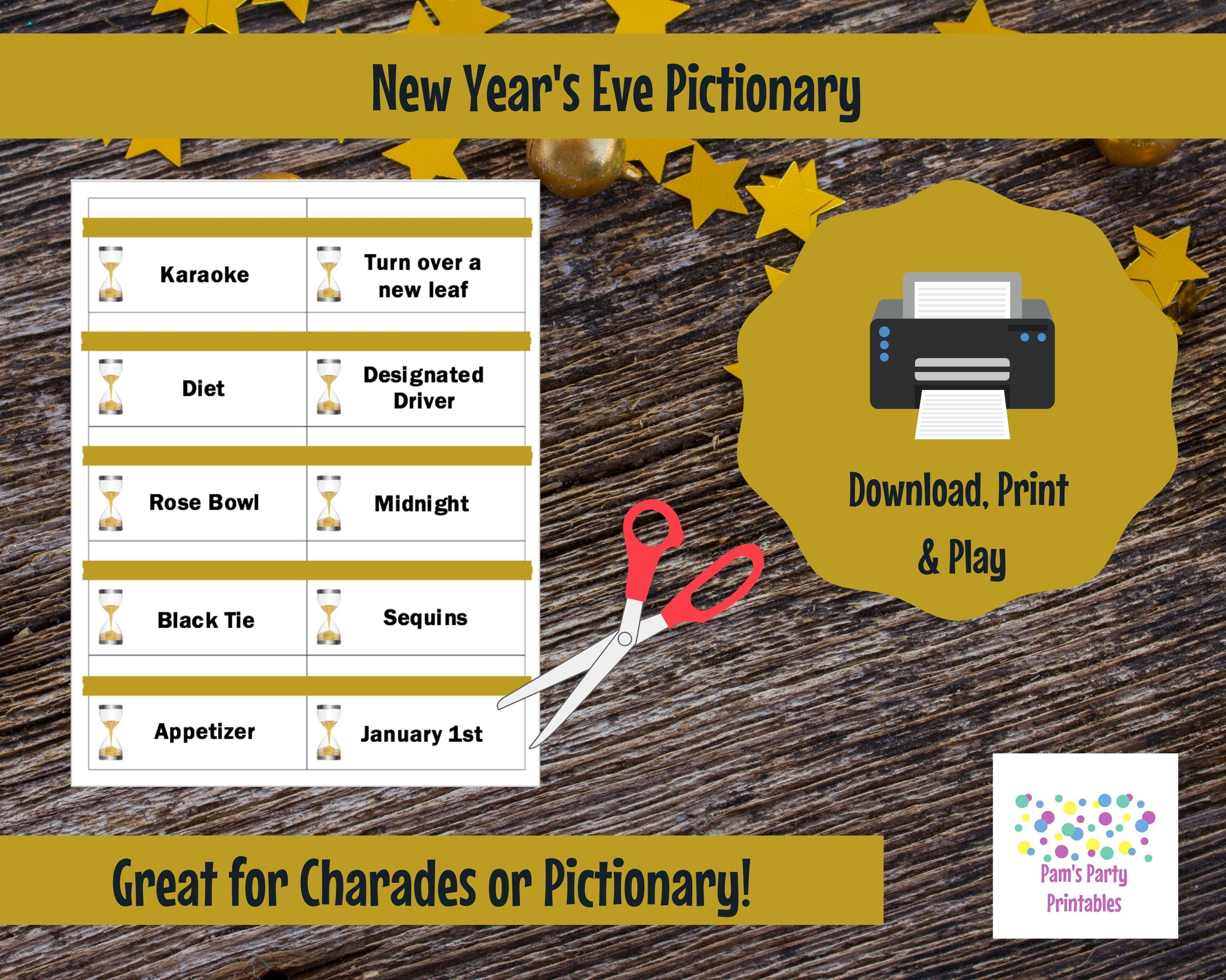 Printable New Year S Eve Edition Game Cards For