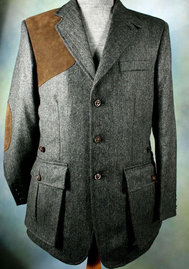 Mid Grey Herringbone Shooting Jacket Tweed Shooting Jacket Harris Tweed Jacket Jackets