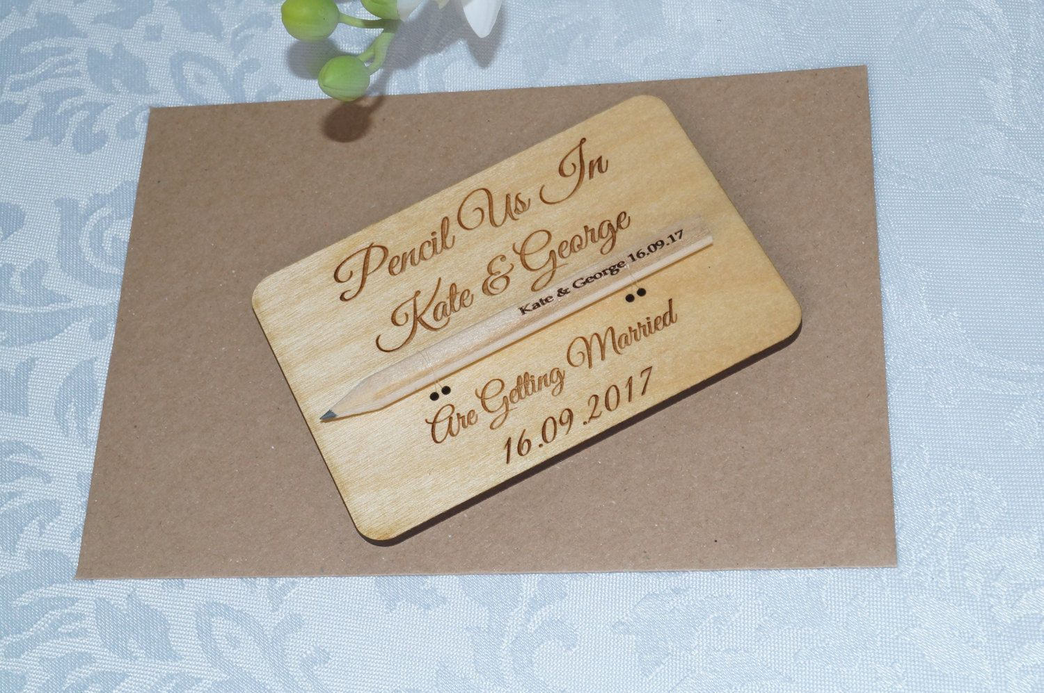 Wooden Save The Date Cards Wedding