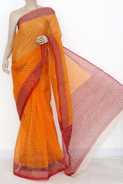 e859c5d5590b21 Orange Red JP Kota Doria Chunri Print Cotton Saree (without Blouse) 15302