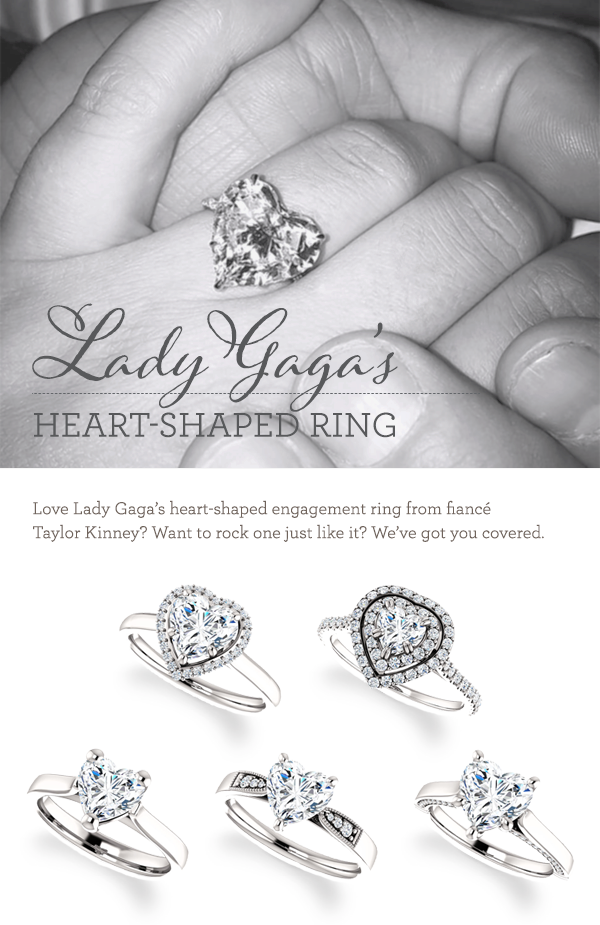 At top is Lady Gagas engagement ring And below are heartshaped