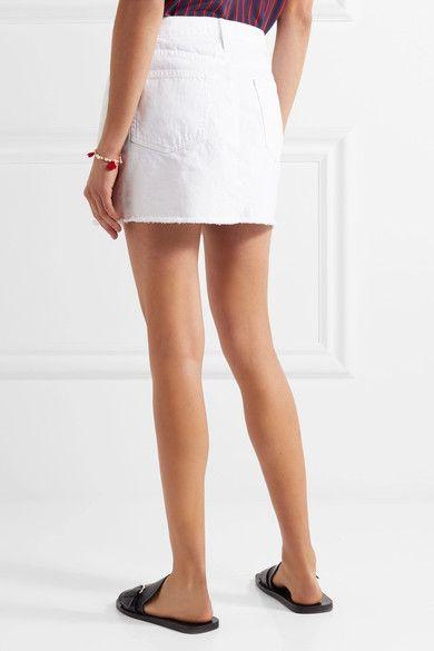 f7347431d FRAME - Le Mini Frayed Denim Mini Skirt - White | Products | Denim ...