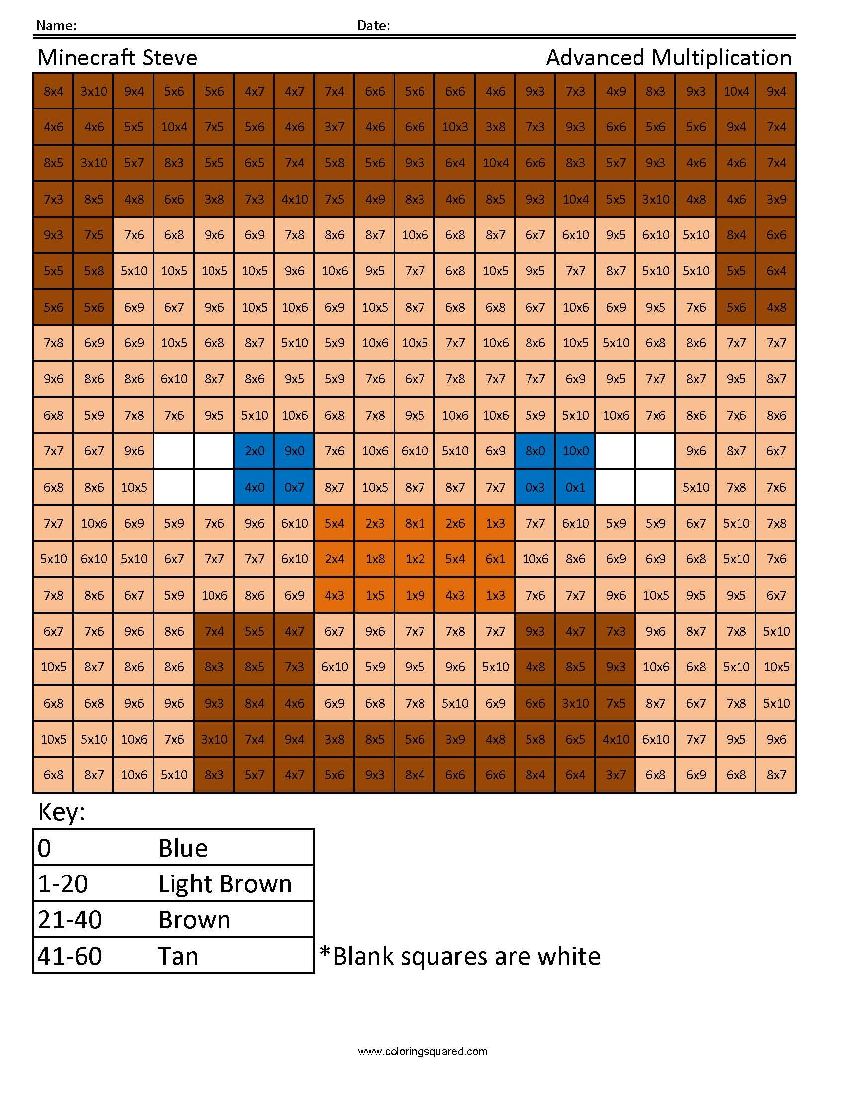 Coloring Squared Would Like You To Enjoy These Free Minecraft Multiplication And Division Pages For Download