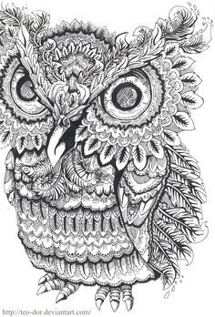 coloring pages from deviantart for adults bing images - Owl Coloring Page For Adults