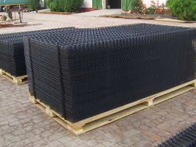 Two Pallets Of Black Pvc Coated Welded Wire Panels On The Ground Welded Wire Panels Pvc Fence Wire Fence Panels