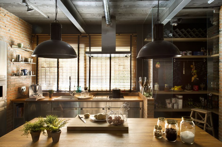 industrial kitchen warmth is achieved with wood warm gray tones and brick - Industrial Style Kitchen