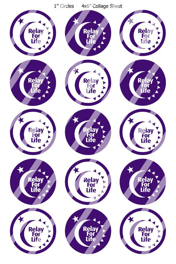 Bottle Cap Images Relay For Life 2 Digital Collage R366 1 Circles For Bottlecaps Jewelry Hairbows Buttons 2 25 Relay For Life Relay Bottle Cap Images