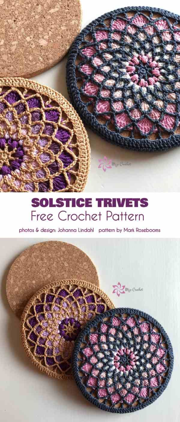 Solstice Trivets Potholders (Partially) Free Crochet Pattern