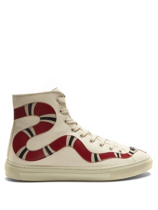 67129777eaac7 GUCCI Major Snake-Appliqué High-Top Leather Trainers.  gucci  shoes   sneakers