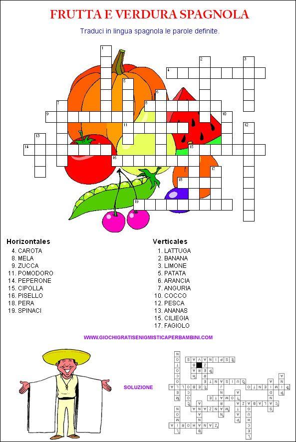 Cruciverba in spagnolo sulla frutta e sulla verdura for Cruciverba facili per bambini piccoli