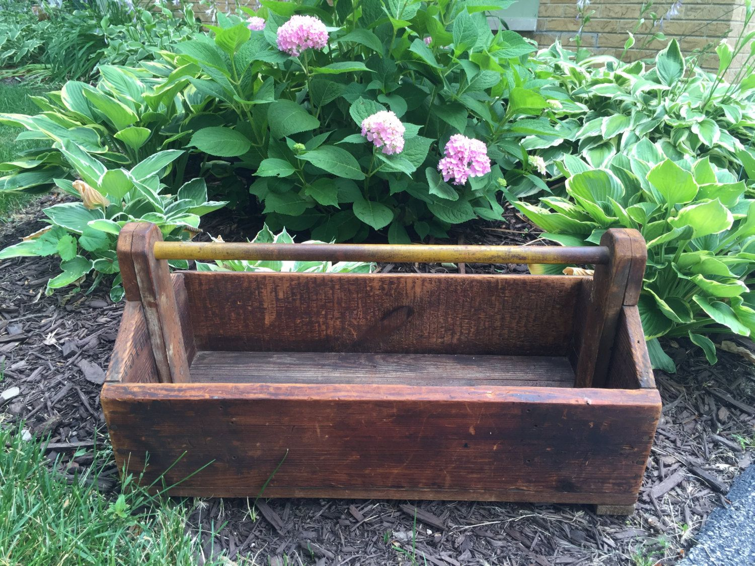 Antique tool box,vintage wood box,garden tool box, decorative tool ...