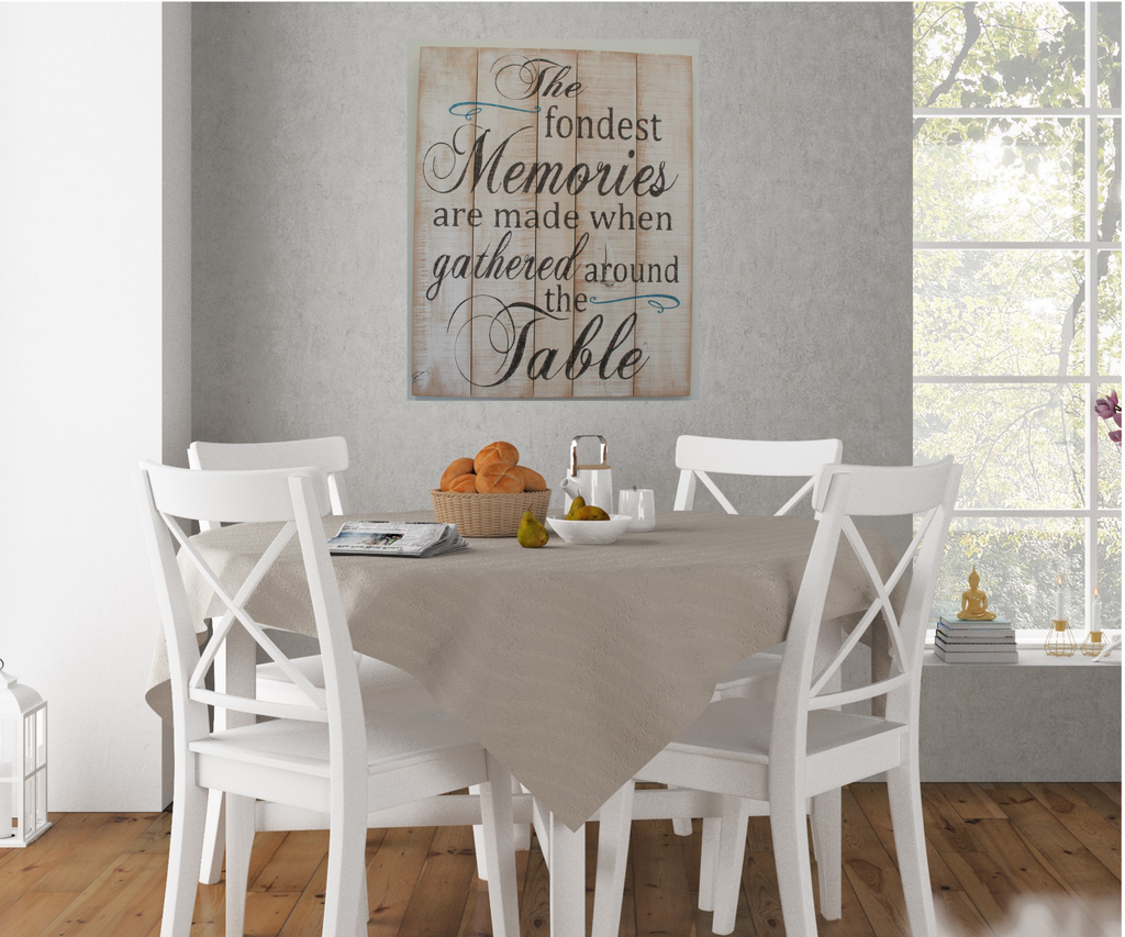 The Fondest Memories Are Made When Gathered Around Table Wood Pallet Sign Dining Room Decor
