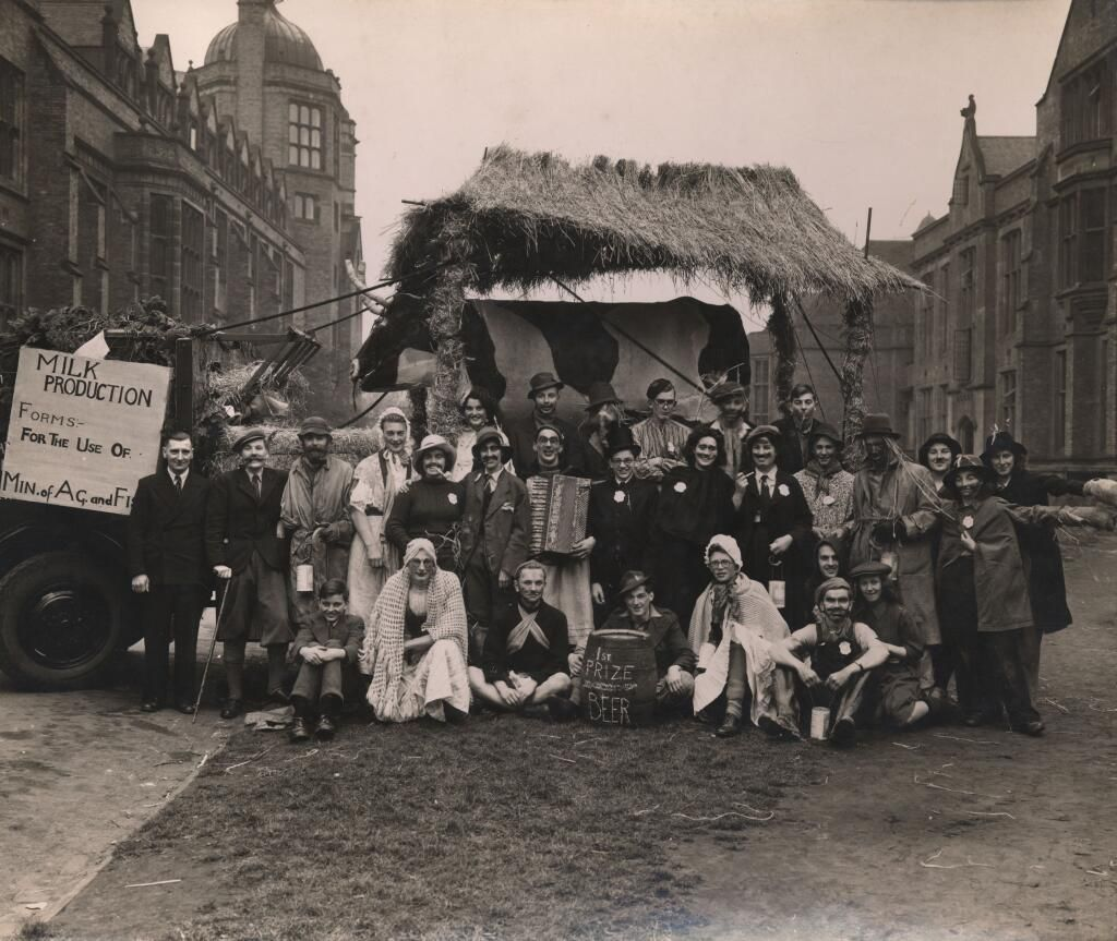 Newcastle University's Agriculture Society's RAG week float from 1947