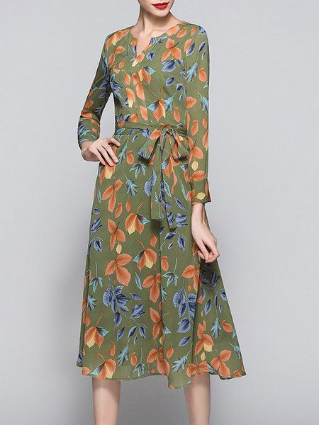 6c0591a740 Army Green Tie Waist Floral-print Long Sleeve Midi Dress | KH and ...