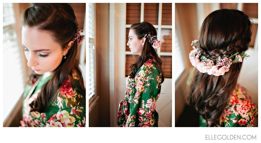 etsy robe, wedding, bride, bridesmaid, flowers, hair, braid, Atlanta, barn, bouquet, cake, dress, Elle Golden, Elle Golden Photography, farm...