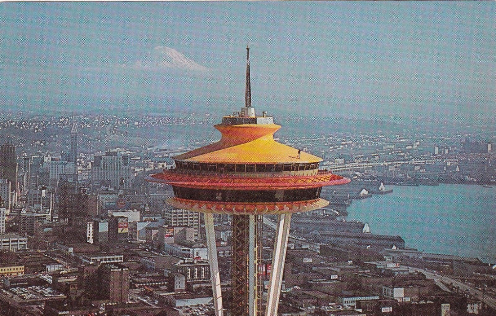 3 Vintage Original Orange Roof Space Needle Seattle Washington Postcard Space Needle Seattle Space Needle Seattle Washington
