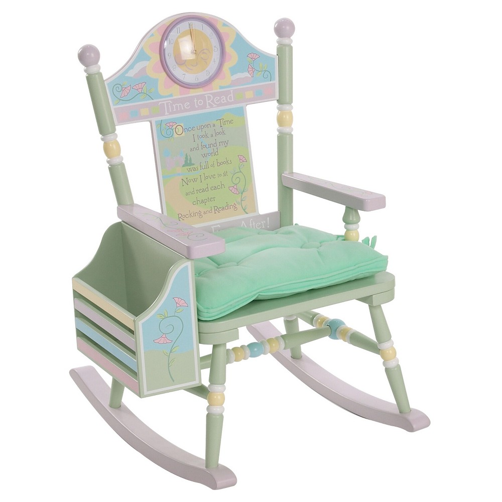 Time To Read Rocker Girl Pink Levels Of Discovery Mint Green Girls Rocking Chair Rocking Chair Kids Rocking Chair