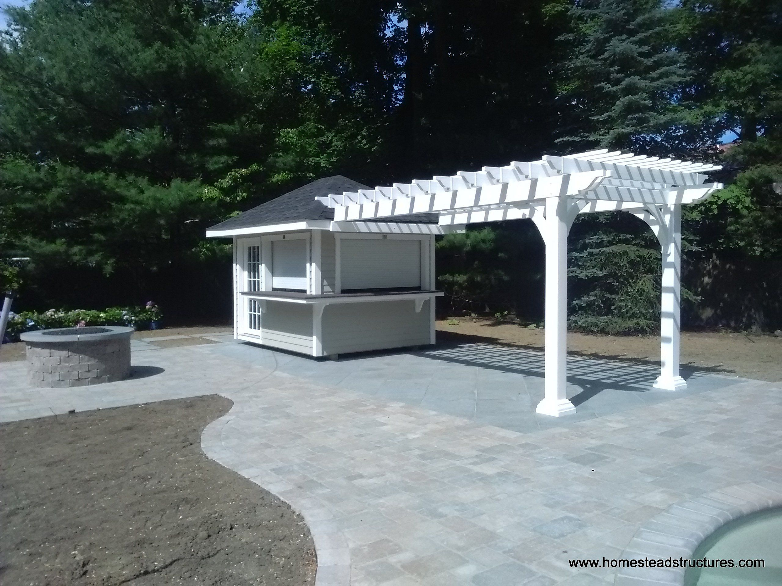 8x26 Pool Cabana And Pergola Combo Check Out Those Roll Up Concession Windows Perfect For Serving Guests By The Pool Pergola Wood Pergola Backyard Pergola