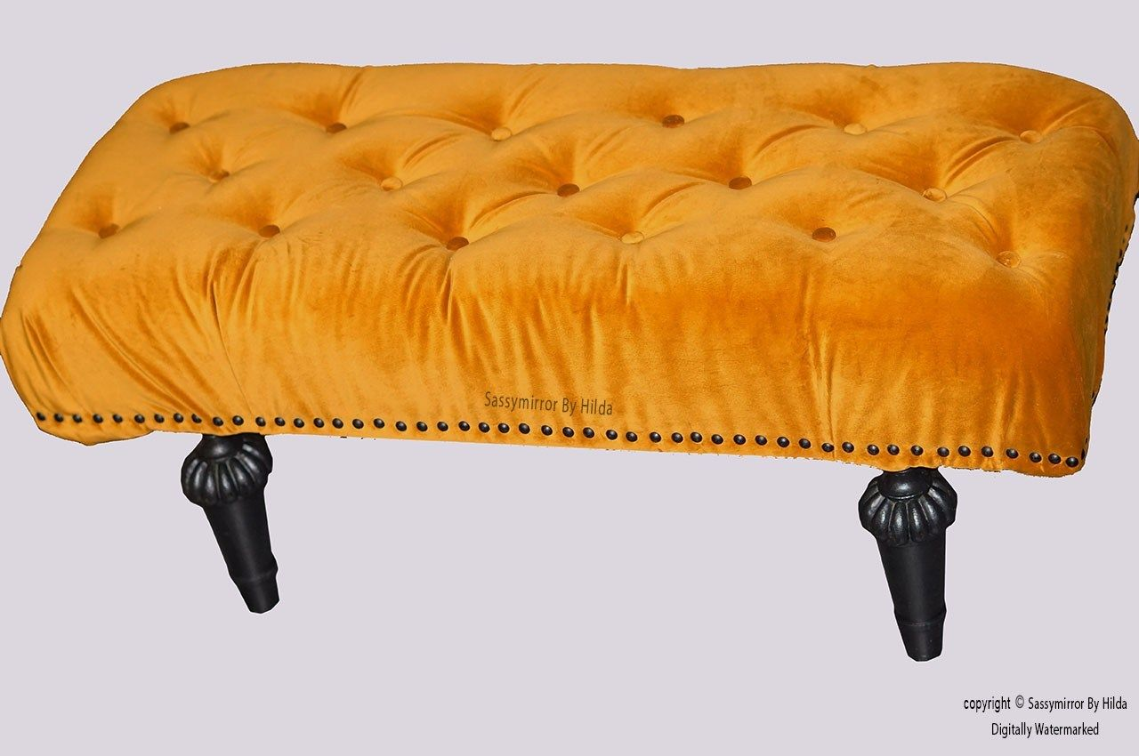 Obi Buttoned Velvet Tufted Footstool Yellow