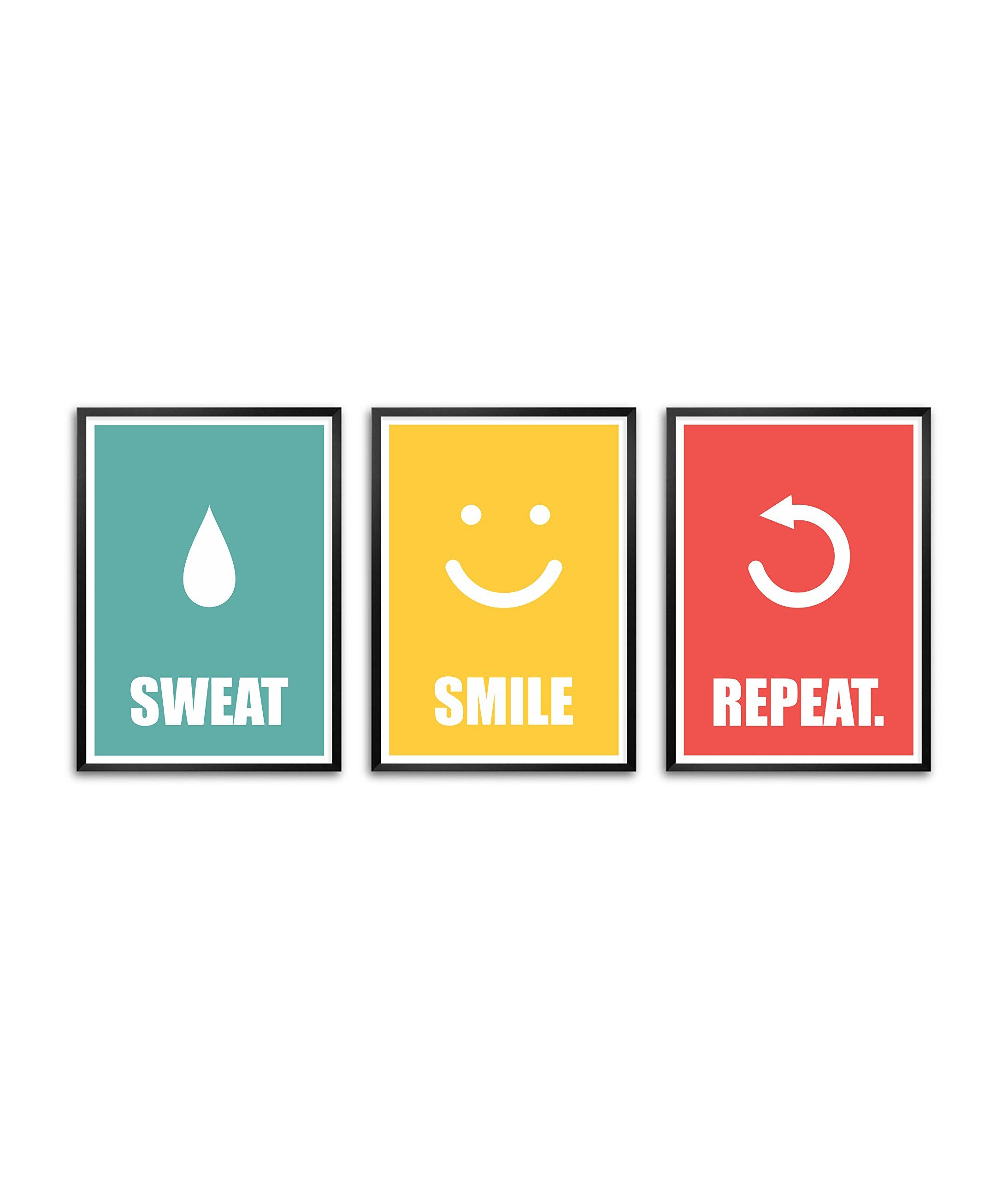 Amazon.com: Lab No. 4 Sweat Smile Repeat Gym Framed Poster (Set Of 3 ...