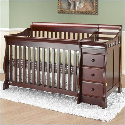 Orbelle Michelle 4 In 1 Convertible Wood Crib And Changer Set In Cherry