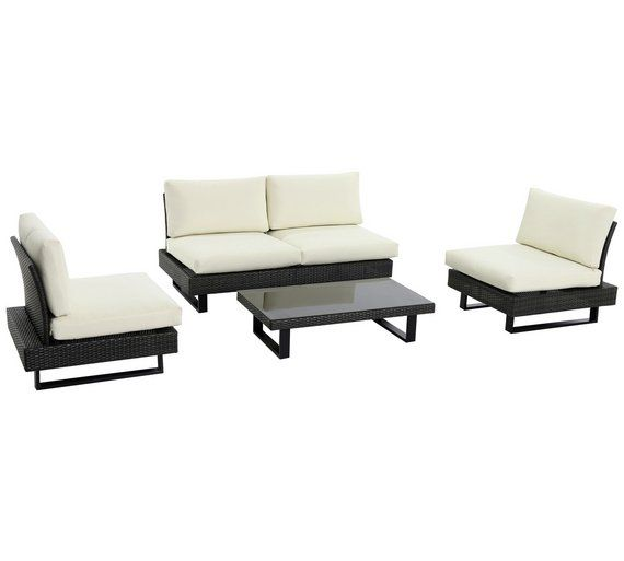 buy low level modern rattan 4 seater garden sofa set at argoscouk