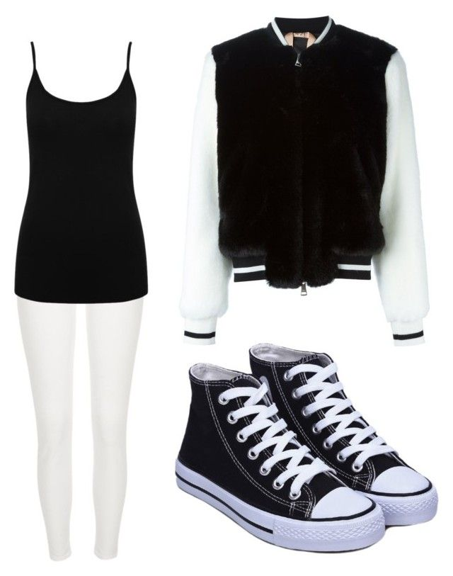 """black and white"" by grace1hope1veronica1venessa ❤ liked on Polyvore featuring River Island, M&Co and N°21"