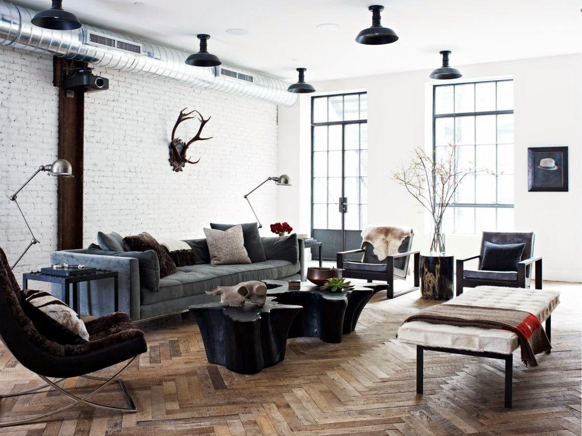 Cococozy Industrial Organic Nyc Loft Living Room Loft Masculine Living Rooms Loft Living