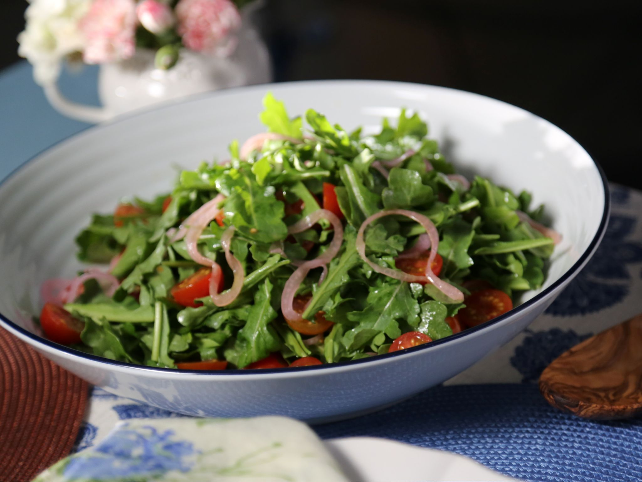 Arugula Salad With Pickled Red Onions And Champagne Vinaigrette Recipe Vinaigrette Recipes Food Network Recipes Pickled Red Onions