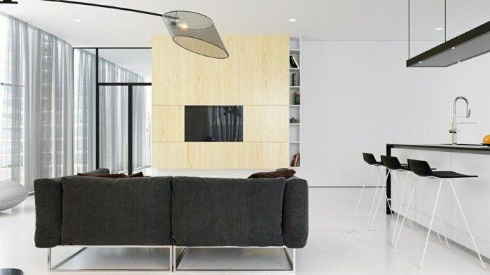 minimalistisch wohnen kleines wohnzimmer graues sofa offener - sofa kleines wohnzimmer