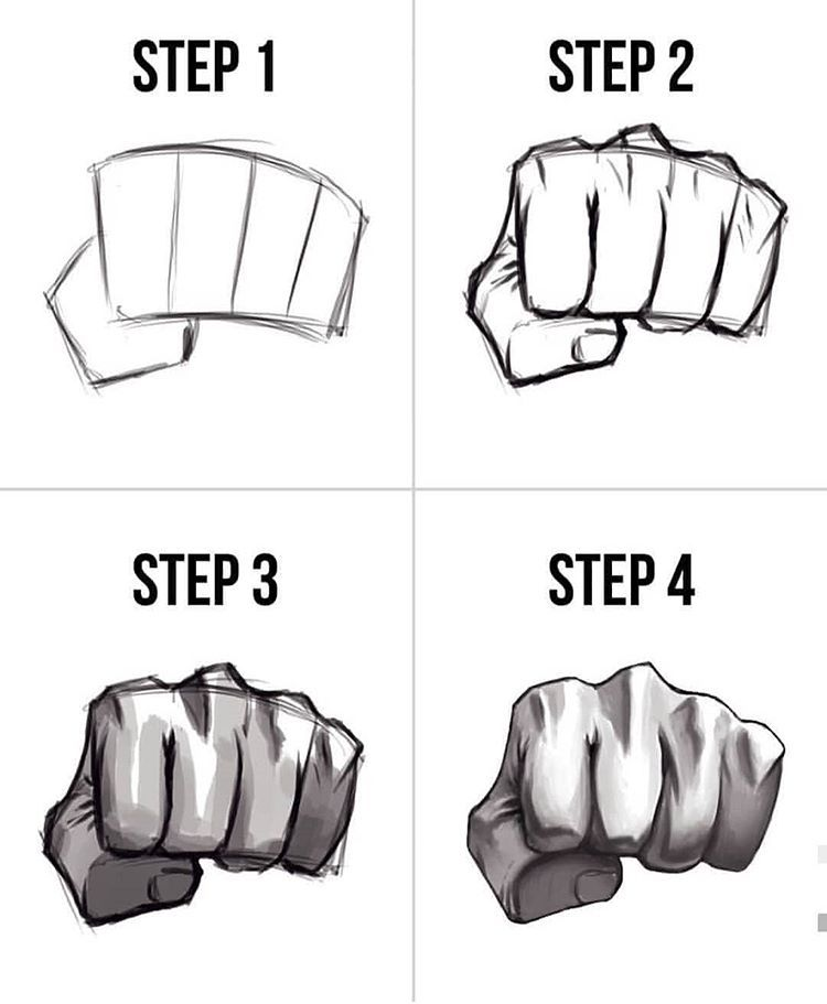 How To Draw Clenched Fist : clenched, Clenched, Biceps, Drawing, Reference,, Fist,, Hands