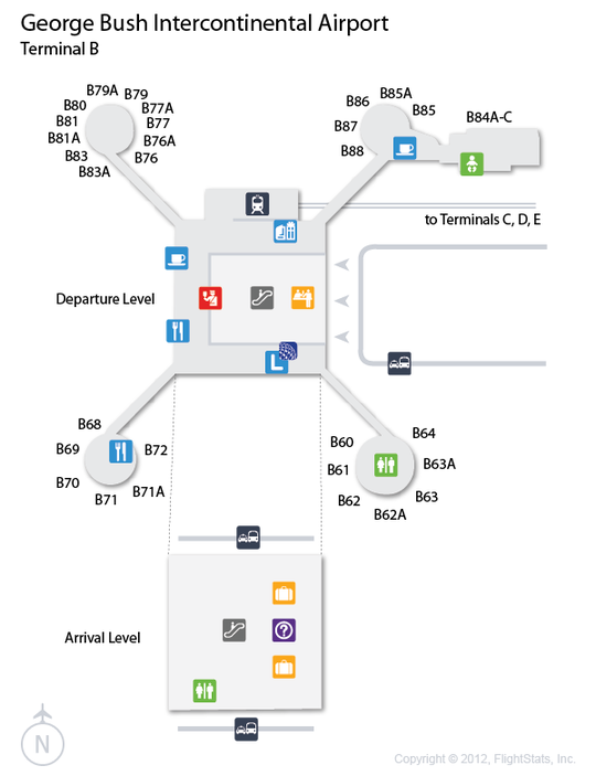 iah george bush intercontinental airport terminal map airports