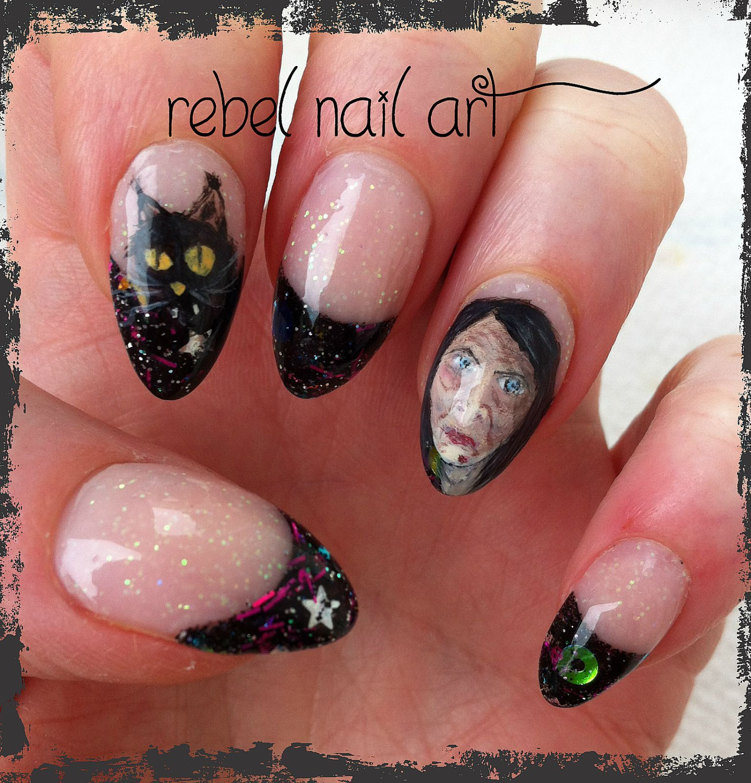 Meet Haggatha the witch and her cat. Halloween nail art