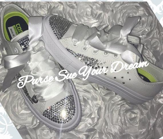 9dc668b71504 Custom Swarovski Crystal Bridal Converse Wedding Shoes - Swarovski Crystal  Wedding Shoes - Swarovski