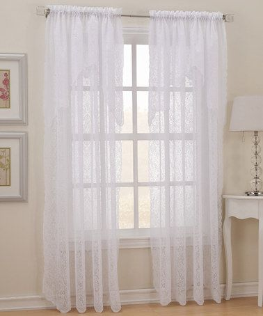 Love This Pollencia Sheer Lace Panel Attached Valance By