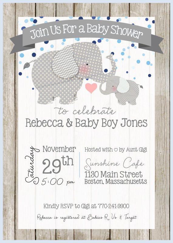 Elephant Baby Shower Invitation Elephant Theme Little Peanut
